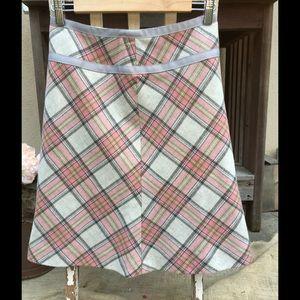 WOOL Plaid A-Line Midi Skirt