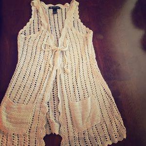 I•N•C grey sparkle tie vest