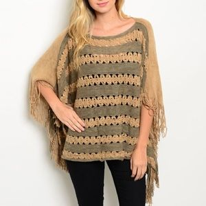 Other - Striped Crochet Front Poncho