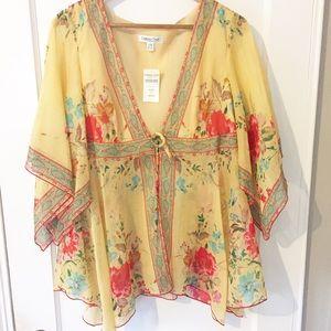 Coldwater Creek Tops - 🎉HP2/7/17 NWT Yellow Coldwater Creek Sheer Kimono