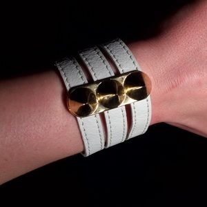 nOir Jewelry Accessories - nOir white leather snap cuff bracelet gold spikes