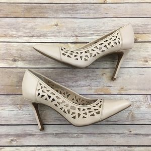 Steven by Steve Madden Shoes - Nude leather point toe pumps with laser cut detail