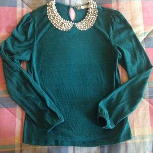 Chloe K Sweaters - Pearl Peter Pan Collar Emerald Sweater