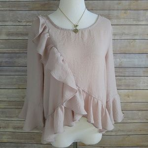 Tops - Blush pink top with ruffle detail