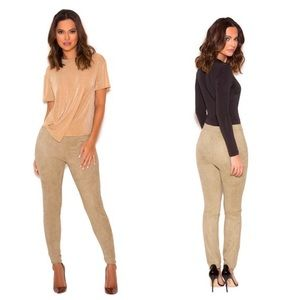 House of CB Pants - House of CB Suede 'Kaman ' Leggings