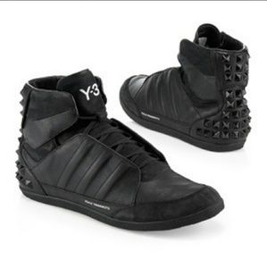 Y-3 Shoes - Black Honja Studded Leather High-top Sneakers