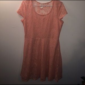 Peach/pink lace dress. Worn only once. Size L.
