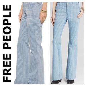 ⭐️Free People Solar Blue pin-striped Jean size 24