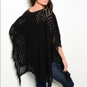 Other - Knitted Spring/Summer Black Poncho