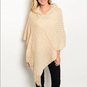 Other - Cream Poncho with Hood