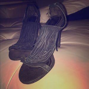 Anne Michelle Shoes - Suede black fringe pump stiletto 6 Anne Michelle
