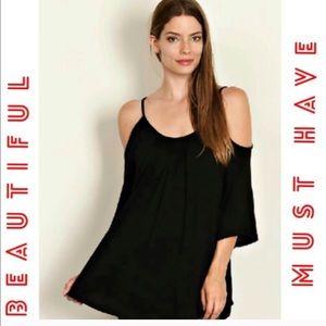 Fashionomics Tops - Black Cold Shoulder Tunic