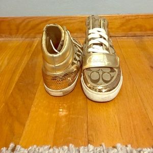 Coach Shoes - Gold sequin coach hightop sneakers
