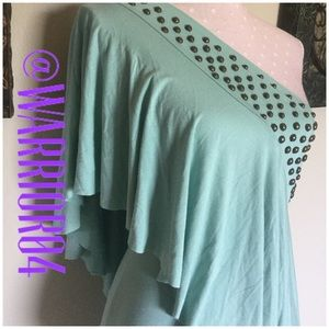 Jaloux Tops - 🆕Jaloux One Shoulder Mint Green Studded Top NWT🆕