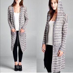 1 HR SALEROBYN stripe hoodie cardigan - NAVY