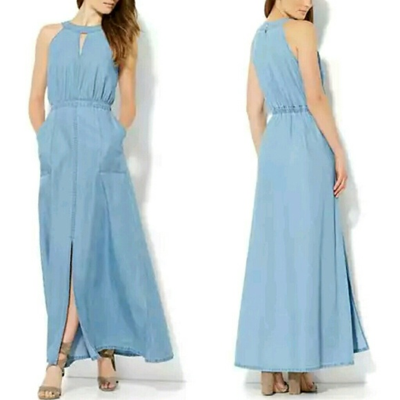 New York Company Dresses Blue Denim Festival Sleeveless Long