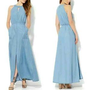New York & Company Dresses & Skirts - blue denim festival sleeveless long maxi dress