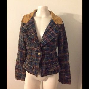 Anthro Nick & Mo Tweed Plaid Blazer Jacket S M