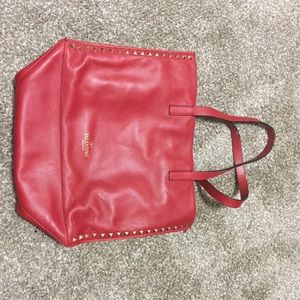 Valentino Garavani Handbags - Red Studded Valentino Leather Bag