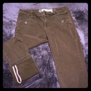 Anthro brown crop pants with cute tan cuff
