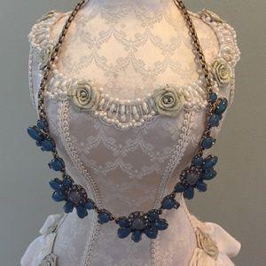 J. Crew Jewelry - J Crew Blue Floral Statement Necklace