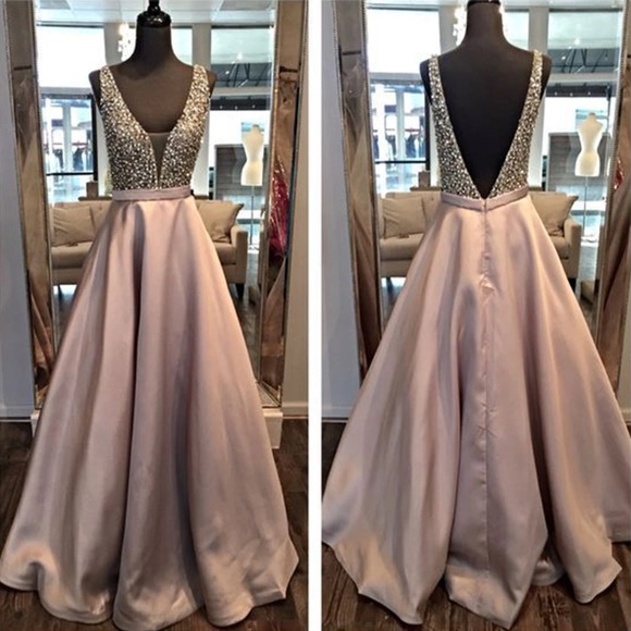 Deep V Dusty Rose Prom Dress Evening Formal Gown