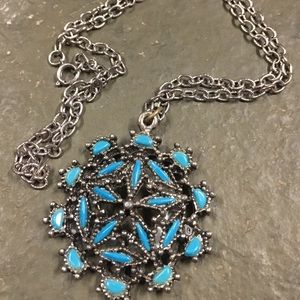 Turquoise pendant and chain necklace