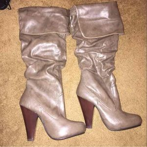 Shoes - KNEE HIGH TALL BOOTS FAUX FUR INSIDE