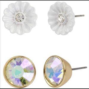Betsey Johnson Flower & Faceted Stone Duo Earrings