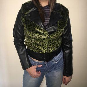 Dollhouse Jackets & Blazers - DOLLHOUSE GREEN LEOPARD MOTO JACKET