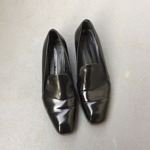 Zara patent leather loafers with cool detail