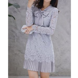 Brand new Lavender lace and pleated dress
