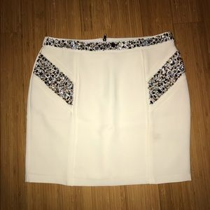 WHITE BEDAZZLED SKIRT