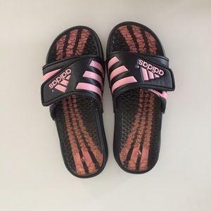 Adidas slides - pink and black