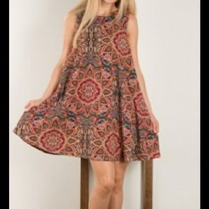 Bohemian Print Sleeveless Swing Dress