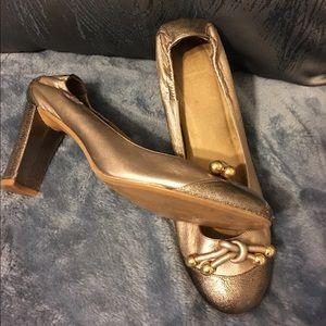 "Stuart Weitzman two tone bronze 3.5""heel"