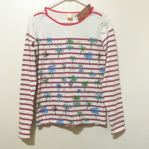 Scotch R'Belle Tops - European Designer Red Stripe Palm Tree Top XS