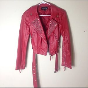 Red studded faux-leather jacket