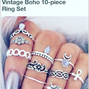 Jewelry - 10pcs ring boho arrow moon midi ring women men