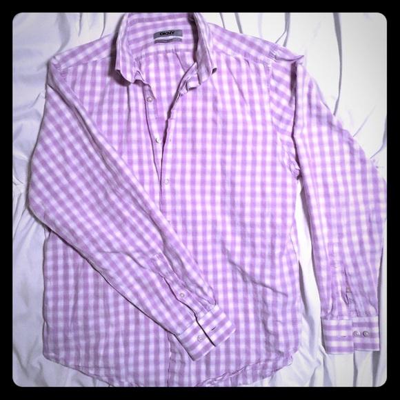 Clothing, Shoes, Accessories Dress Shirts Dkny Night Blue & Gray Plaid Cotton Dress Shirt