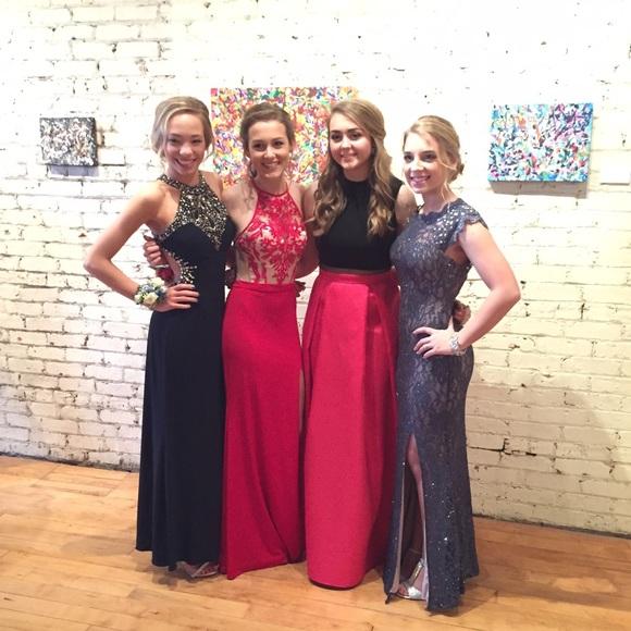 Dresses Long Sleek Black And Pink Prom Dress Poshmark