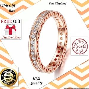 Jewelry - rose gold love ring band silver fashion men women