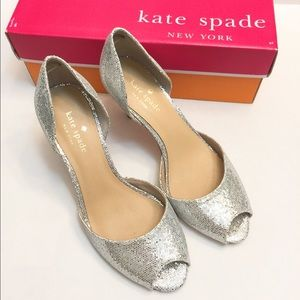 kate spade Shoes - 🆕NIB Kate Spade glitter open toe heels/shoes SZ 7