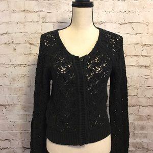 FP Cardigan Sweater Black Cotton Scoop Neck Top
