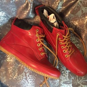 ciao Shoes - Vintage Ciao red rubber boots booties fur lined 8