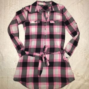 City Streets Tops - Plaid Tie/Belted Tunic