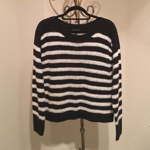 Worthington Sweaters - Chunky black and white striped shimmer sweater