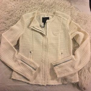 Paige Jeans Jackets & Blazers - Paige Ivory Woven Slim Fit Full Zip Jacket