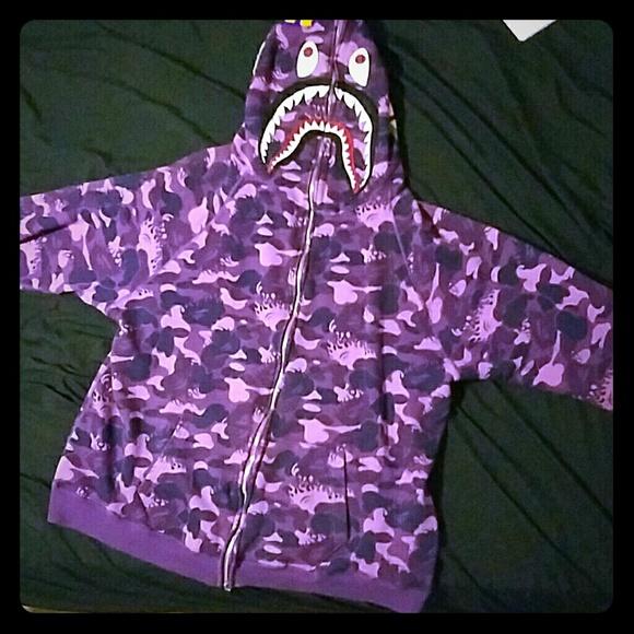 1b3a7166786f2 bathing ape Jackets & Coats | Shark Full Zip Hoodie Purple Fire Camo ...