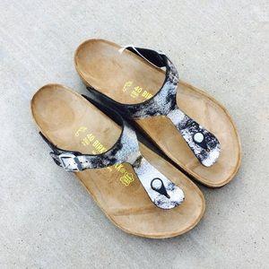 {Birkenstock} Silver Sandals